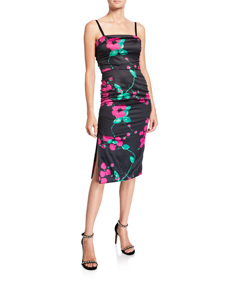 Image 1 of 2: Milly Dayna Painted Floral Sleeveless Satin Cocktail Dress