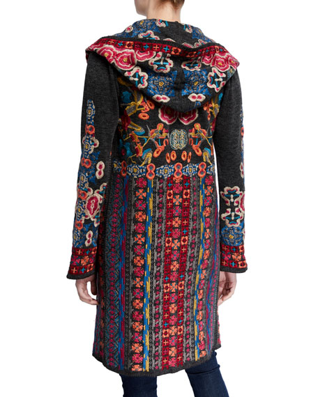 Johnny Was Plus Size Treli Embroidered Long Hooded Cardigan