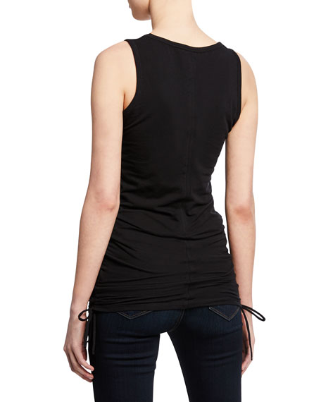 Majestic Filatures Scoop-Neck Stretch-Cotton Tank w/ Side-Ruching
