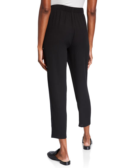 Eileen Fisher Silk Crepe Tapered Ankle Pants w/ Satin Side Stripes