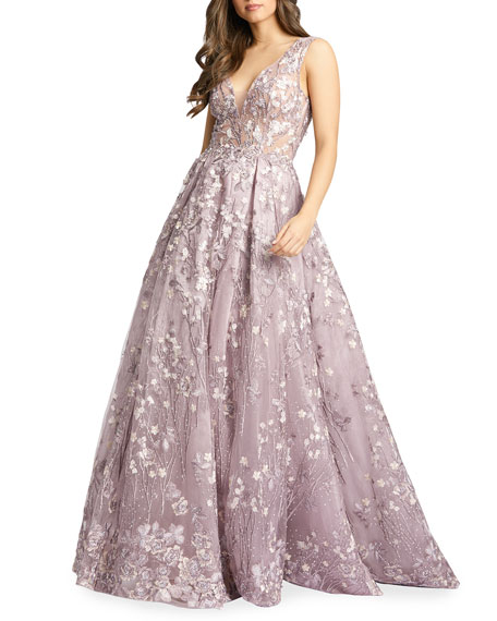 Image 1 of 2: Mac Duggal Floral Embroidered V-Neck Sleeveless A-Line Gown