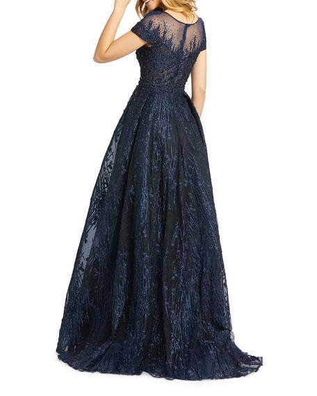 Mac Duggal Illusion Cap-Sleeve Novelty Fabric Gown