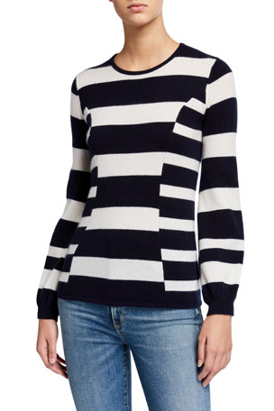 Neiman Marcus Cashmere Collection Cashmere Multi Stripe Blouson Sleeve Crewneck Sweater