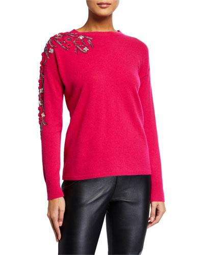 Floral Embellished Cashmere Crewneck Sweater
