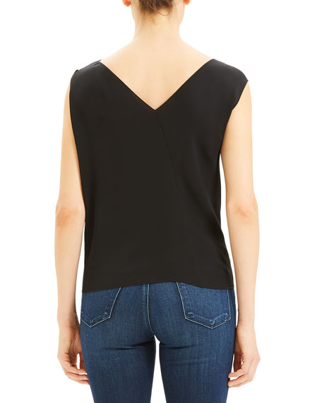 Theory Asymmetric Classic Silk Georgette Top