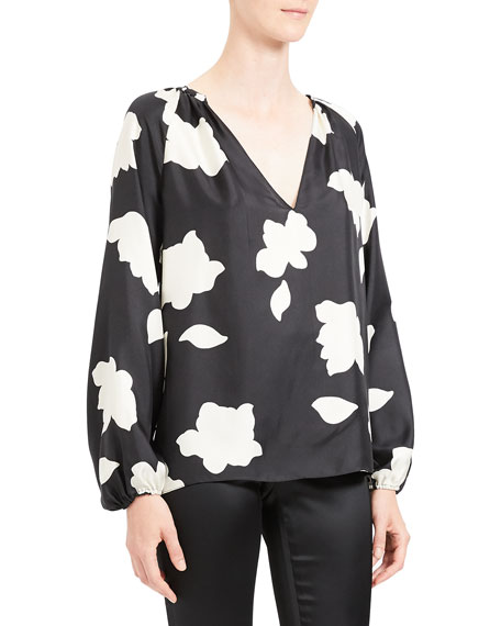 Image 4 of 4: Theory Petal Open V-Neck Gathered Long-Sleeve Silk Blouse