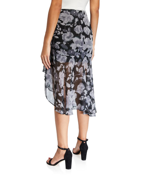 MISA Los Angeles Fiona Ruched Floral Skirt
