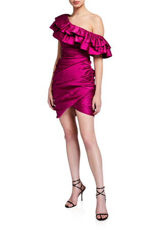 Jay Godfrey Jolene Shirred One-Shoulder Mini Satin Ruffle Dress