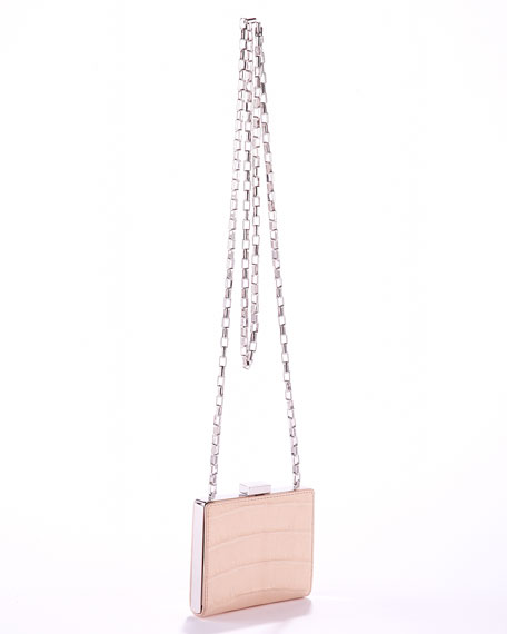 Hutton Runway Box-Frame Bag, Nude