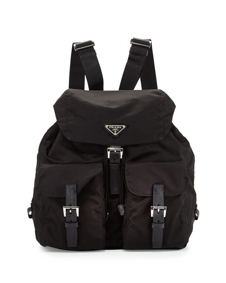 Prada Vela Large Two Pocket Backpack Black Nero