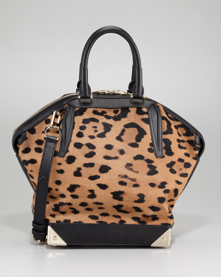 Alexander Wang Emile Leopard-Print Calf Hair Satchel Bag