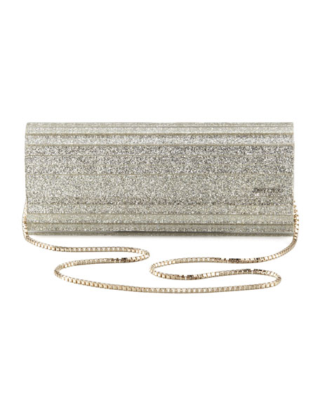 Sweetie Glittery Clutch Bag, Champagne