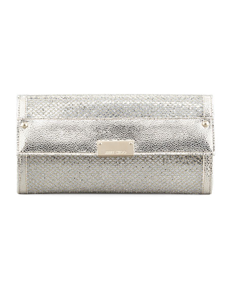 Reese Glitter Wallet Clutch Bag, Champagne