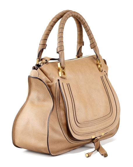 Chloe Marcie Large Leather Satchel Bag, Nut