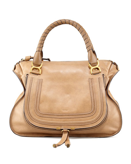 Marcie Large Leather Satchel Bag, Nut
