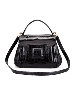 Nancy Gonzalez Crocodile Flap-Front Satchel Bag
