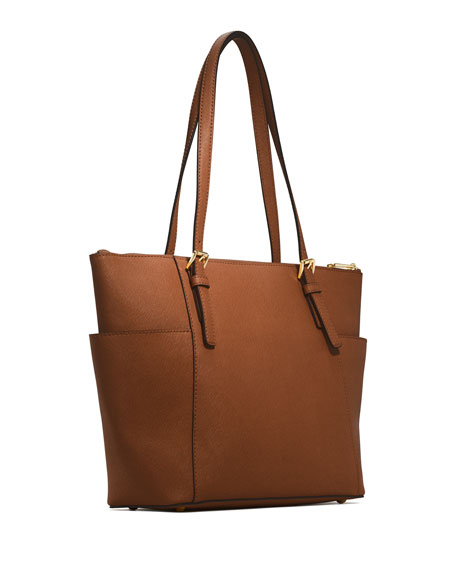 Jet Set Top-Zip Saffiano Tote Bag, Luggage