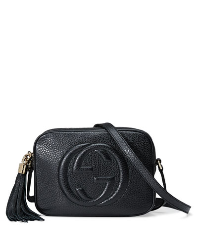 Soho Leather Disco Bag, Black