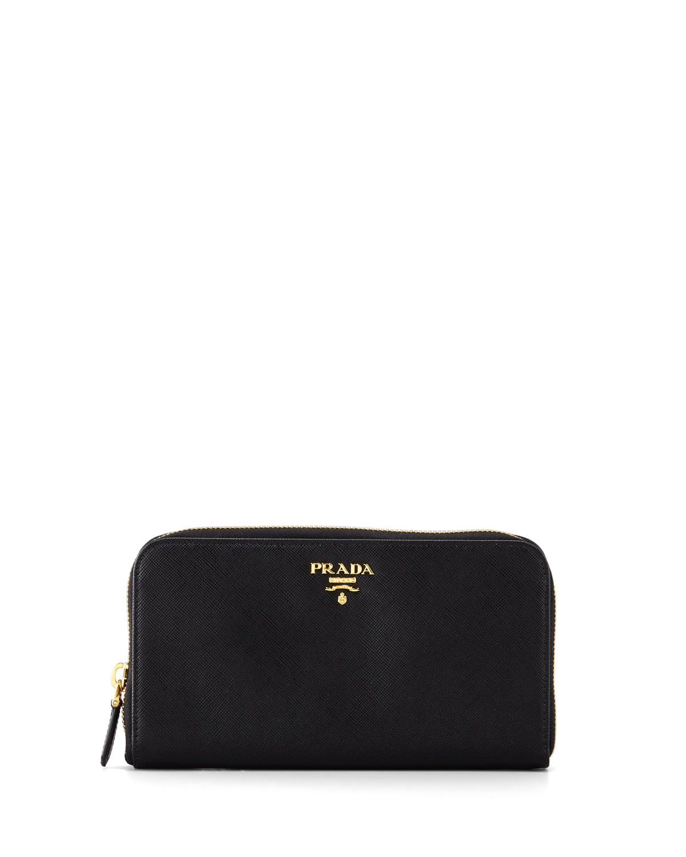 593cdb9b9a42 Prada Saffiano Zip-Around Wallet, Black (Nero) | Neiman Marcus