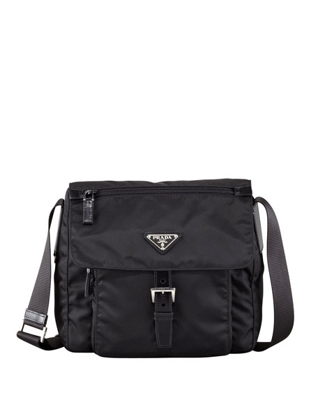 Prada Vela Flap-Front Messenger Bag, Black (Nero)