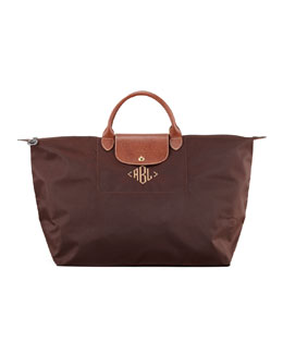 Longchamp Le Pliage Monogrammed Large Travel Tote Bag
