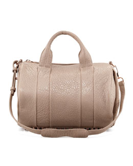 Alexander Wang Rocco Stud-Bottom Satchel Duffel Bag, Beige/Rose Gold