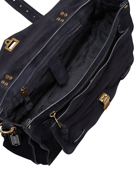 PS1 Medium Suede Satchel Bag, Navy