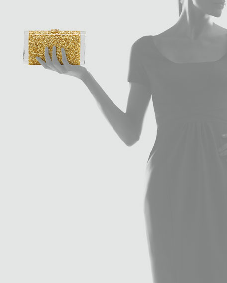 Lara Confetti Clutch Bag, Golden