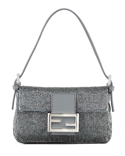 Fendi Beaded Mini Baguette, Gray