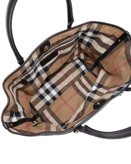 Medium East-West Check-Lined Leather Tote Bag