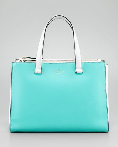 battery park evalyn double-zip tote bag, blue