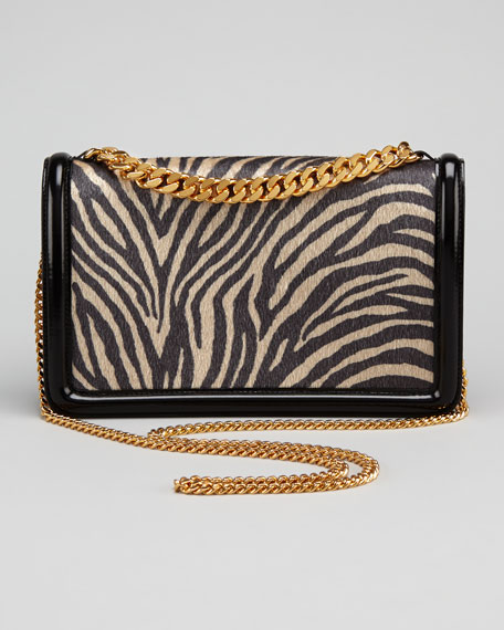 Zebra Faux-Fur Mini Shoulder Bag, Black
