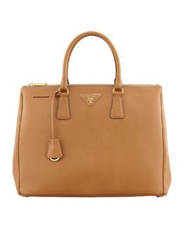 Prada Saffiano Executive Tote Bag, Brown (Caramel)