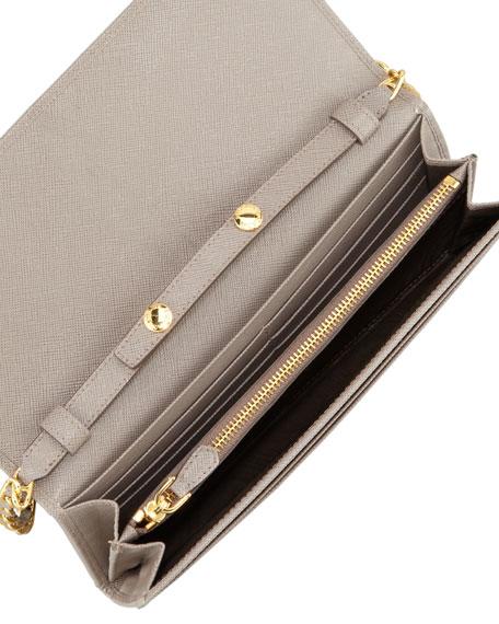 Prada Saffiano Wallet on a Chain, Gray (Argilla)