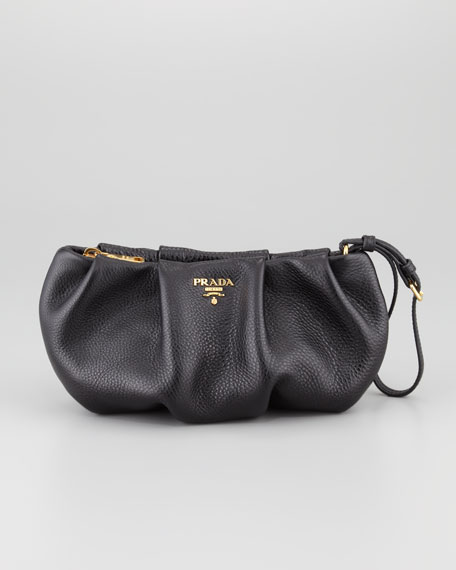 Daino Pleated Wristlet Clutch Bag, Black