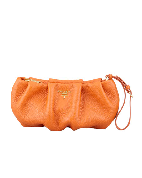 Daino Pleated Wristlet Clutch Bag, Orange