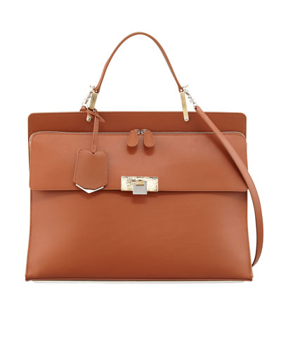 Balenciaga Le Dix Cartable Zip Satchel Bag, Brown