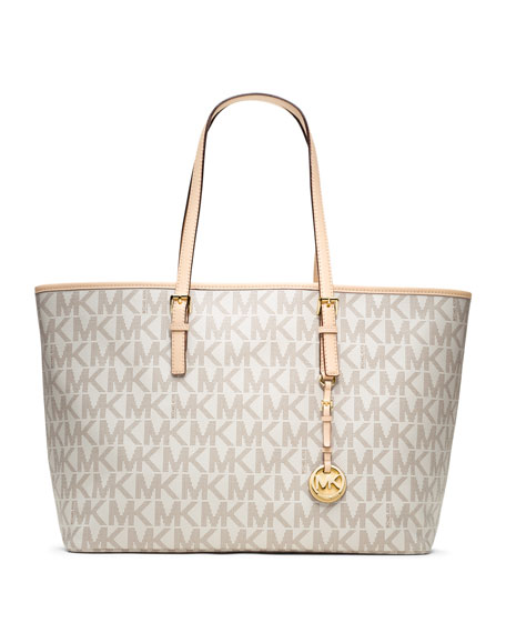 Medium Jet Set Multifunction Logo Travel Monogram  Tote Bag, Vanilla