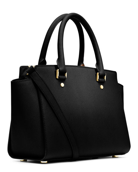 Selma Medium Top-Zip Satchel Bag, Black
