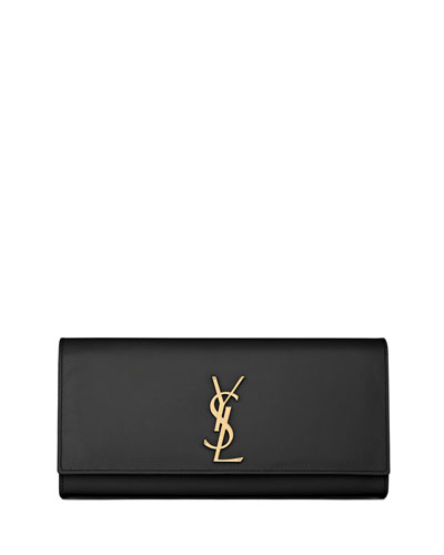Cassandre Calfskin Clutch Bag, Black