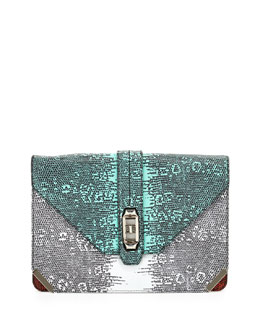 Rebecca Minkoff Moby Lizard-Print Clutch Bag, Multi