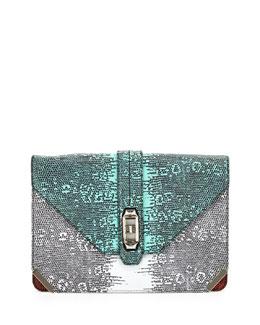Rebecca Minkoff Collection Moby Lizard-Print Clutch Bag, Multi