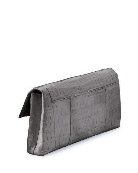 Gotham Crocodile Clutch Bag, Gray