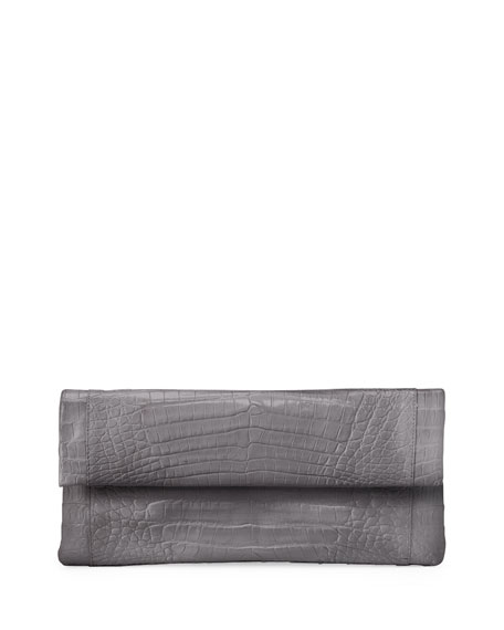 Nancy Gonzalez Gotham Crocodile Clutch Bag, Gray