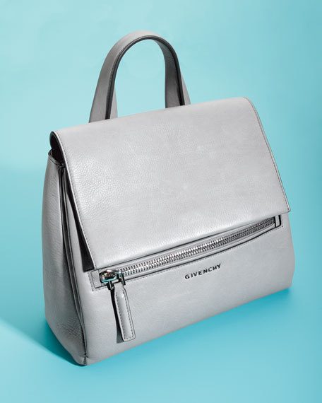 Pandora Pure Small Leather Satchel Bag, Pearl Gray