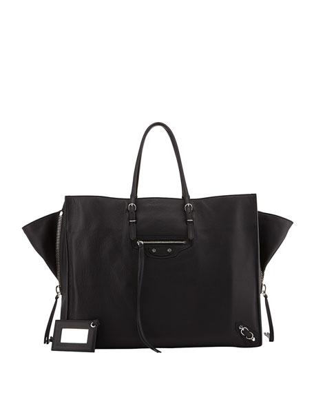 Papier A4 Side Zip Leather Tote Bag, Black