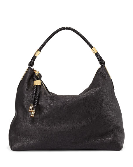 Skorpios Top-Zip Hobo Bag, Black