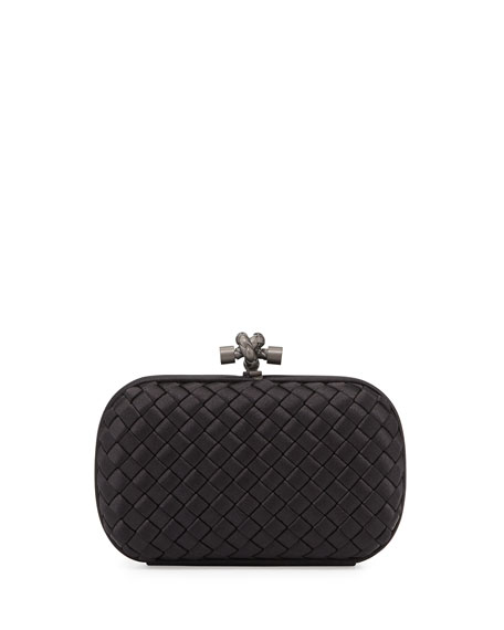 Bottega Veneta Woven Knot Clutch Bag, Black