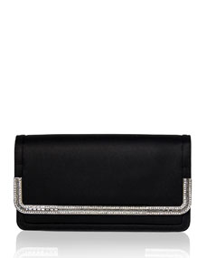 Judith Leiber Lenox Satin Crystal-Trim Clutch Bag, Black