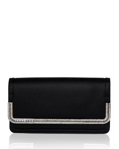 Lenox Satin Crystal-Trim Clutch Bag  Black